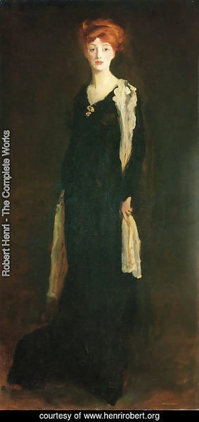 Robert Henri - O in Black with Scarf (or Marjorie Organ Henri)