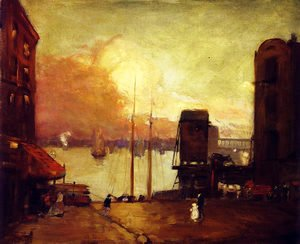Robert Henri - Cumulus Clouds, East River
