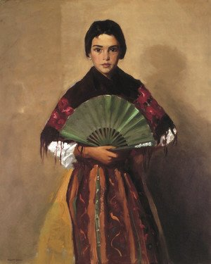 Robert Henri - The Green Fan (Girl of Toledo, Spain)