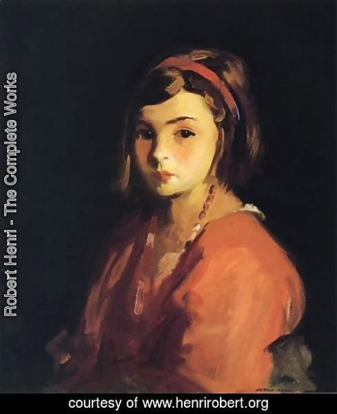 Robert Henri - Agnes In Red (Agnes Schleicher)