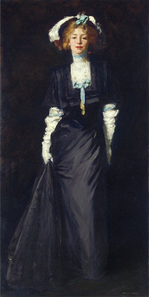 Robert Henri - Jessica Penn In Black With White Plumes