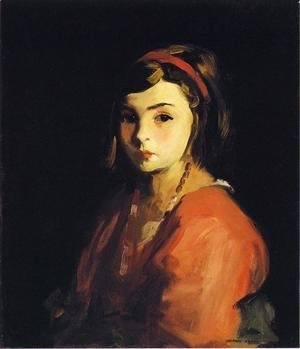 Robert Henri - Little Girl In Red Aka Agnes In Red