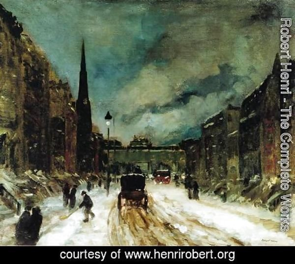 Robert Henri - Street Scene With Snow