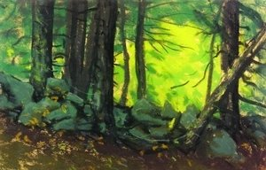Robert Henri - The Stone Wall With Woods